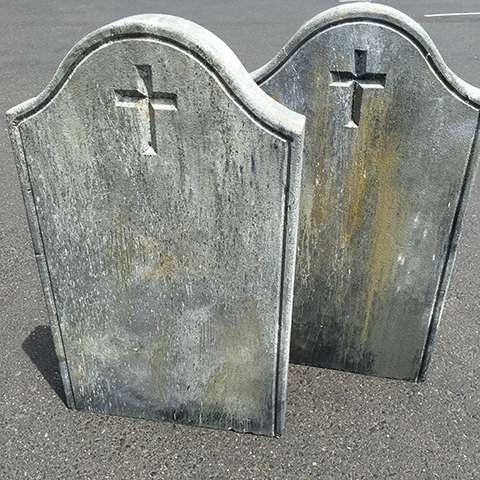 HEA0112 HEADSTONE, Medium - Curled Arch w Cross (100cm H) $75