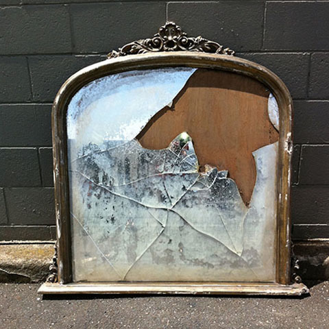 MIR0004 MIRROR, Cracked Mantle Mirror $125