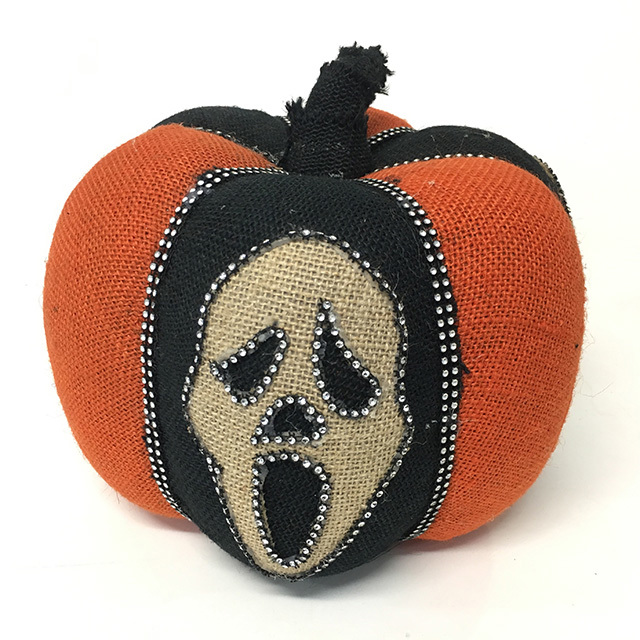 PUM0002 PUMPKIN, Small Hessian Halloween Scream Pumpkin 30cm $6.25
