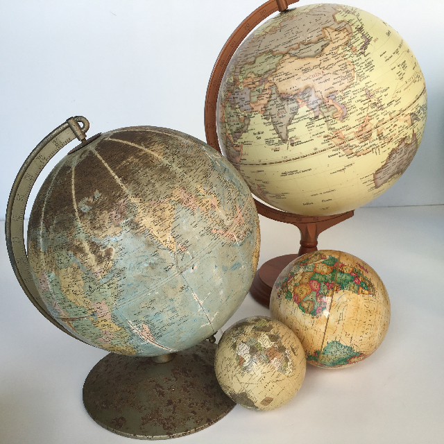 Assorted Vintage and Sepia Tone Globes ($6.25 - $25 each)