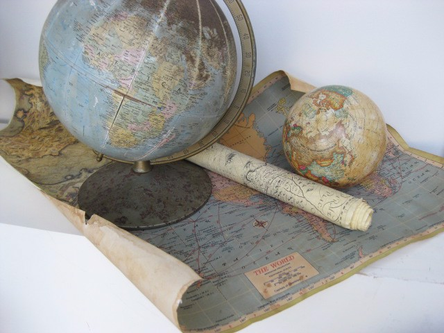Assortment of Maps and Globes (Priced individually)