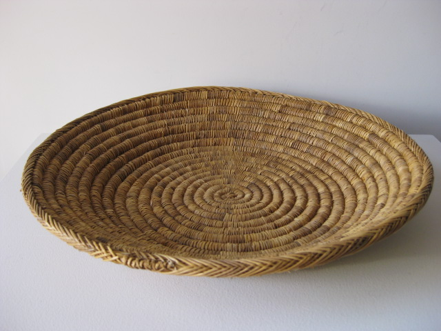 BAS0011 BASKET, Shallow Large Woven $12.50