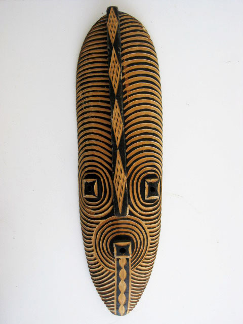 MAS0010 MASK, Large - Tribal Wooden w Black Detail $11.25