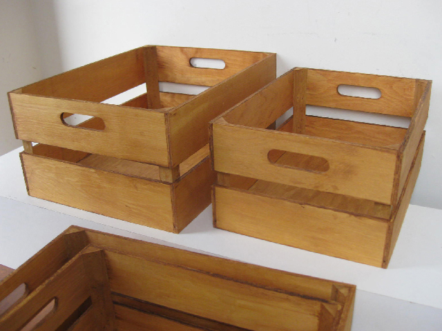 CRA0009 CRATE, Small - Display Crate Stained Natural (41x31x19cm H) $7.50