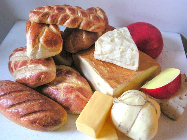 Assorted Breads and Cheeses