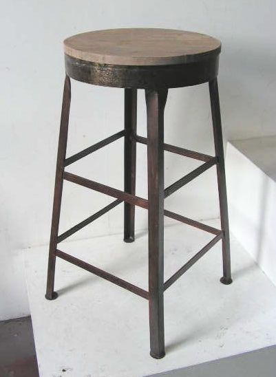 STO0102 STOOL, Bar Stool -  Timber Seat with Angle Iron Legs $45