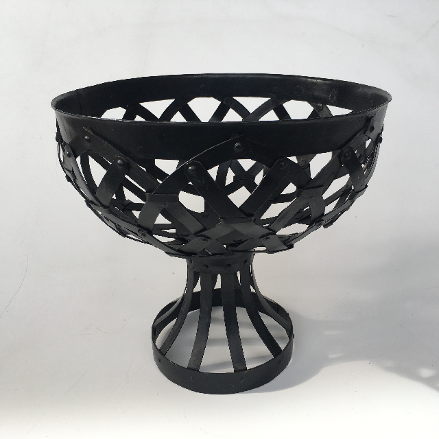 BOW0041 BOWL, Fruit Bowl - Black Metal Pedestal $7.50
