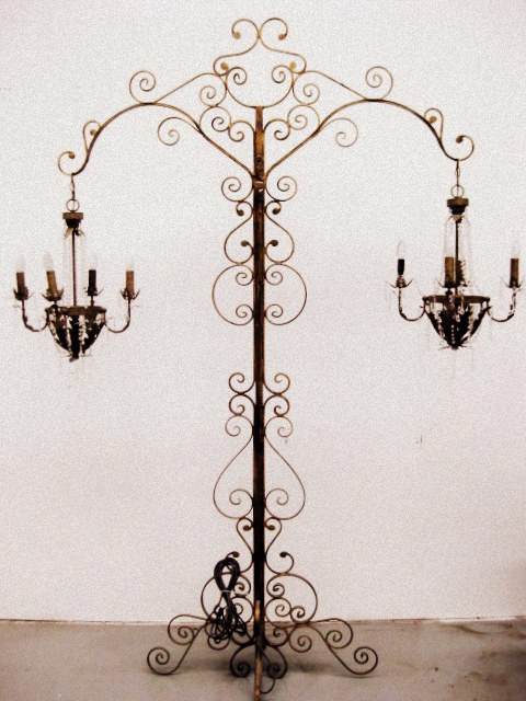CAN0010 CANDELABRA, Floor Standing Ornate Turned Gold Metal 2.5m High $300