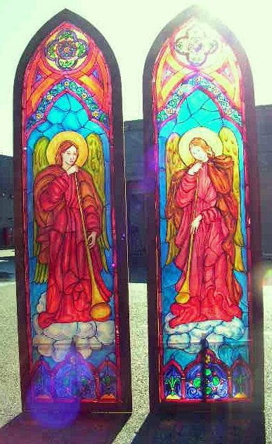 WIN0004 WINDOWS, Stained Glass - Freestanding 50cm W x 2m H $150