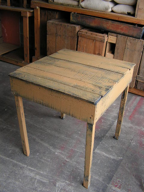TAB0002 TABLE, Large - Rustic Ochre & Black 71x74x80cm H $50