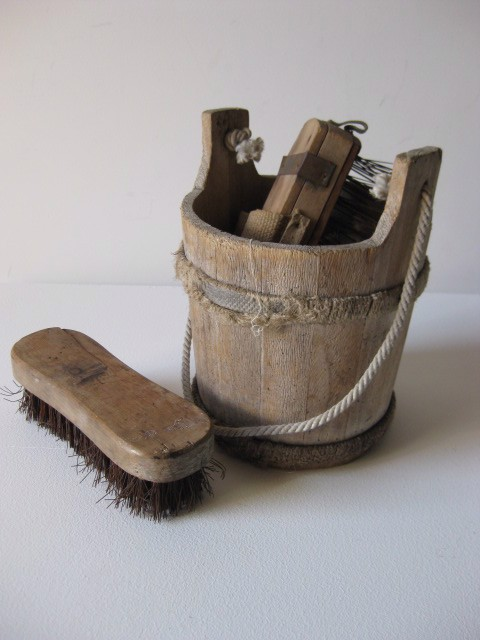 Wooden Bucket and Scrubbing Brushes