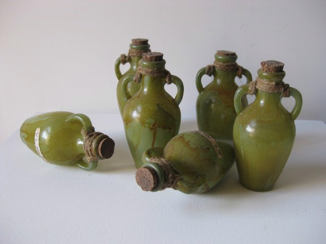 Ancient storage urns, green and shellac x 12