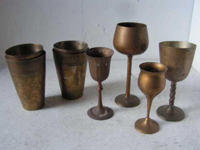 Brass goblets and cups