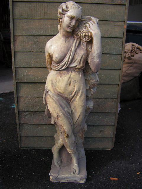 Statue - Lady with roses, 2m high when on plinth base