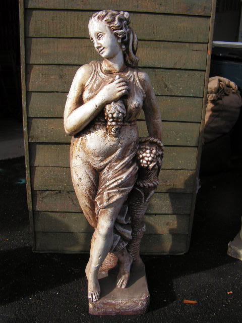 Statue - Lady with grapes, 2m high when on plinth base