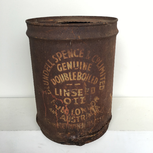 DRU0003 DRUM, Oil Drum - 20L Rusted Linseed Oil $18.75