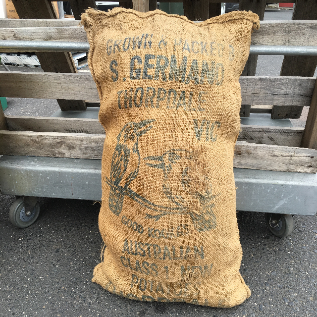SAC0010 SACK, Hessian with Kookaburra Print $20
