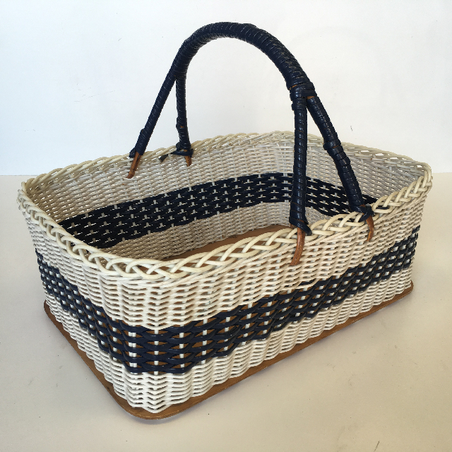 BAS0002 BASKET, Shopping - 1950's White & Blue Wicker $20
