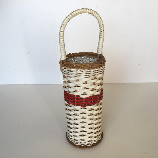 BAS0005 BASKET, Bottle Basket 1950's White & Red $15