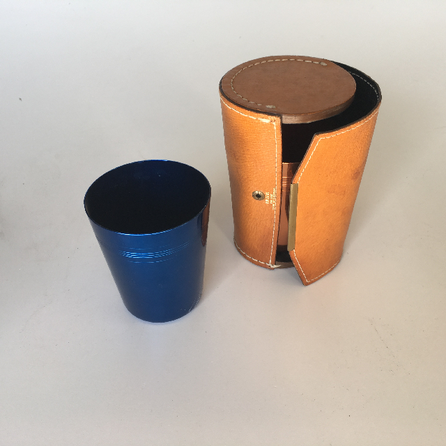 CUP0012 CUP SET, Anodised w Tan Leather Case $5