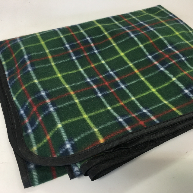 BLA0136 BLANKET, Picnic Blanket - Green Tartan w Waterproof Backing $6.25