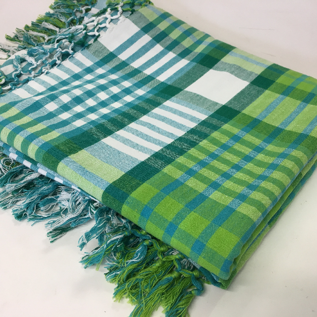 BLA0129 BLANKET, Picnic - Green Tartan Cotton $10