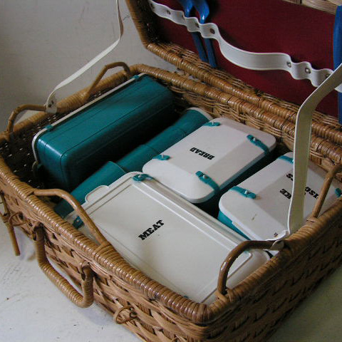 BAS0064 BASKET, Picnic - Wicker Case pictured w Teal & White Set
