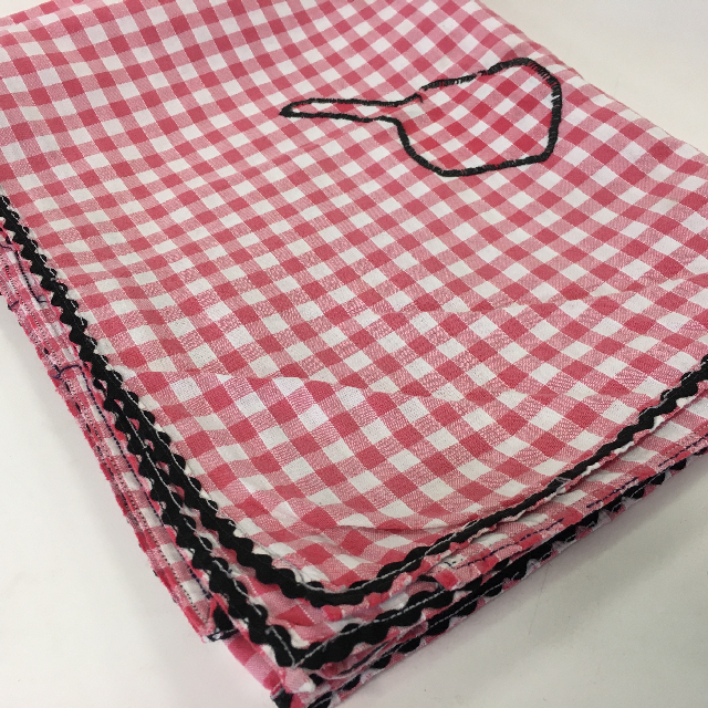 TAB0134 TABLECLOTH, Red & White Gingham w Black Rick Rack & Embroidery $7.50