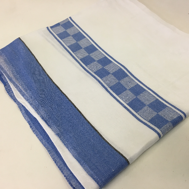 TAB0135 TABLECLOTH, White w Blue Stripe and Check $7.50