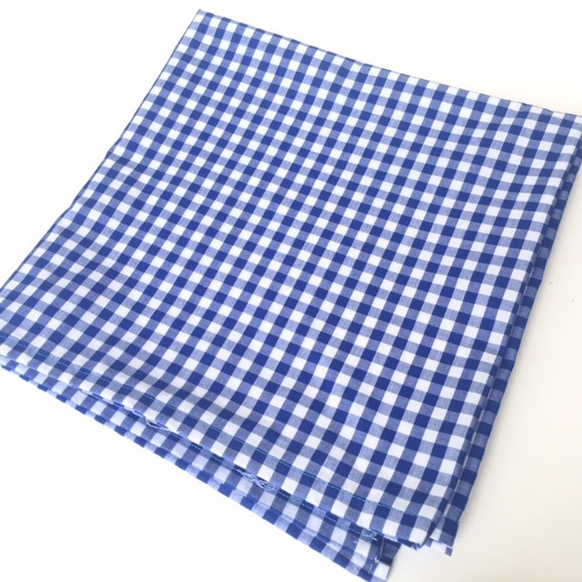 TAB0122 TABLECLOTH, Blue & White 6mm Check - 1.2m x 1.2m $10