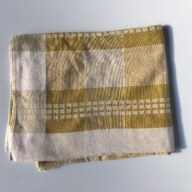TAB0132 TABLECLOTH, Mustard & White Check $7.50