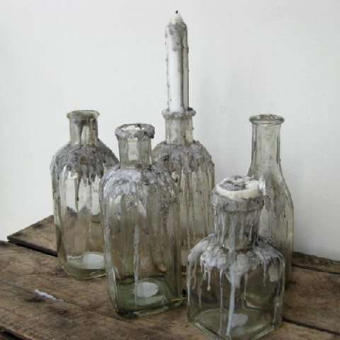 BOT0004 BOTTLES, Assorted Glass (Clear w Candle Wax) $5