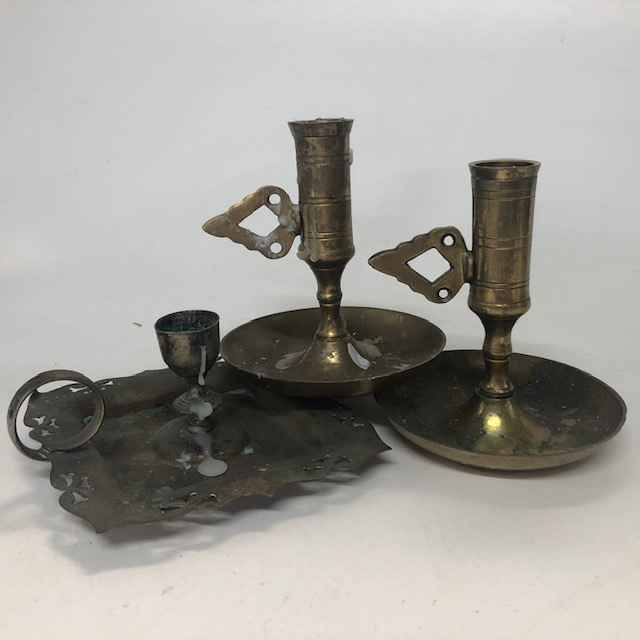 CAN0062 CANDLE HOLDER, Candlestick Hand Holder Brass $6.75