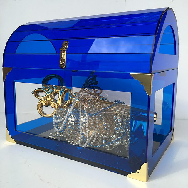 CHE0113 CHEST, Small Blue Acrylic 45cm Wide $125