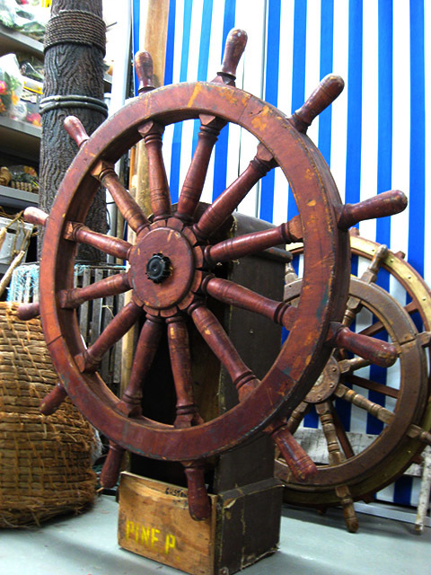 SHI0050 SHIP'S WHEEL, Real Timber Wheel on Stand - 1.2m Dia x 1.35m H $125