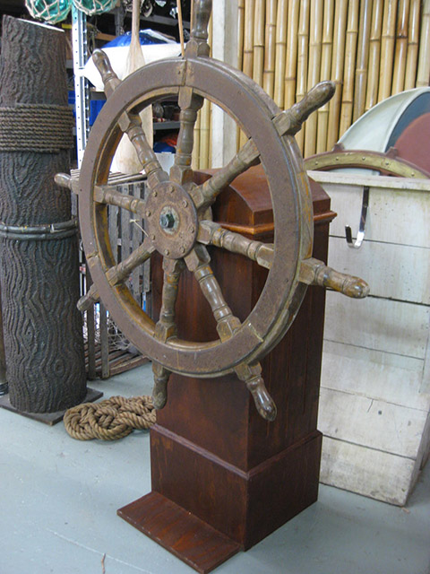 SHI0053 SHIP'S WHEEL, Real Timber Wheel on Stand - 1m Dia x 1.3m H $125