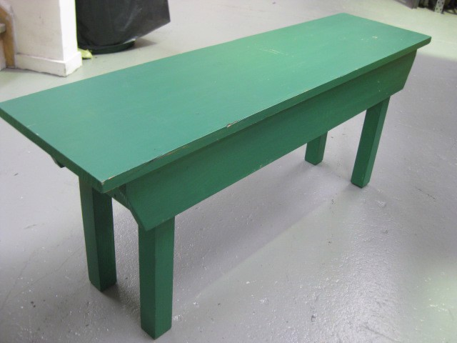 Bench - painted green, 1.1m long