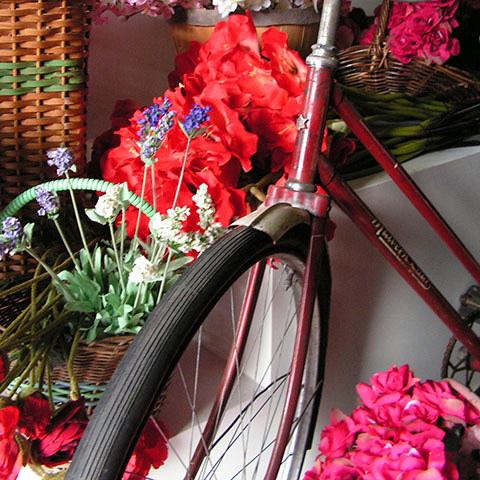 Bicycle - vintage red Malvern Star with basket and flowers