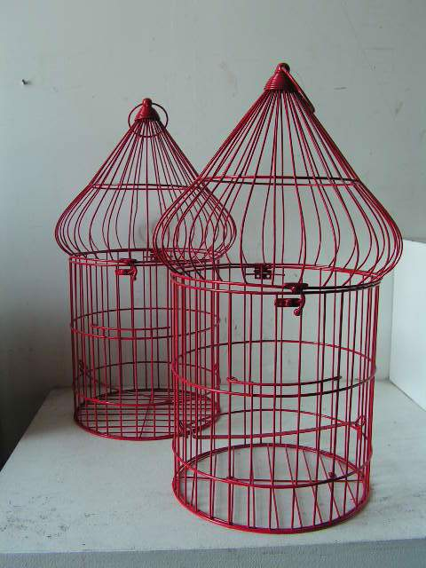 Birdcage - red wire cages, 55cm high
