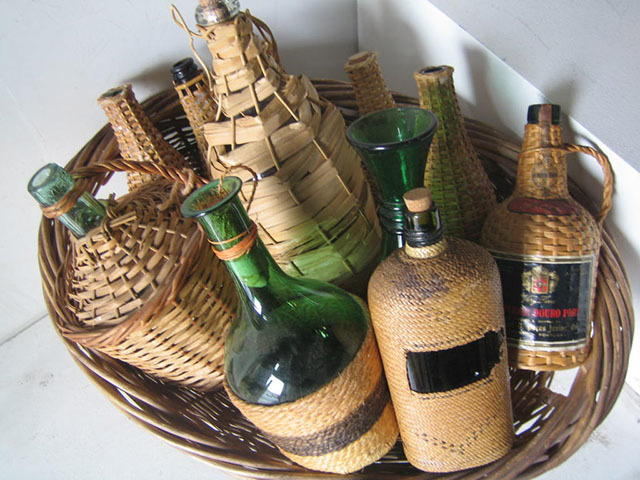 Bottles - assorted chianti and wicker
