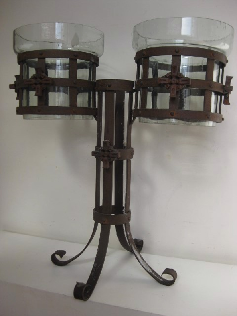 Candelabra - rusted wrought iron with cross motif, double sided