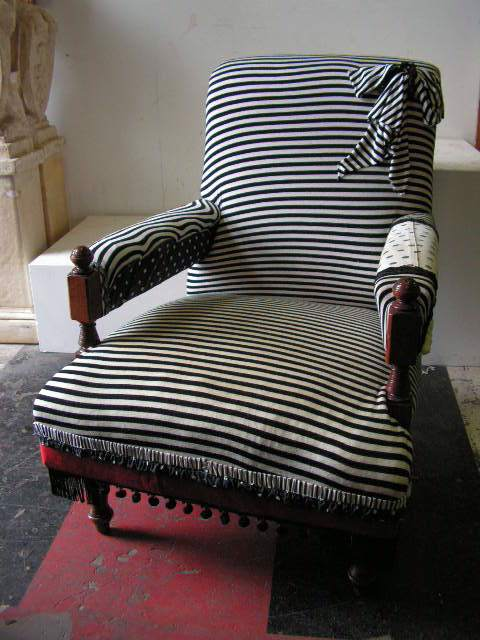Chair - low armchair in black and white stripe