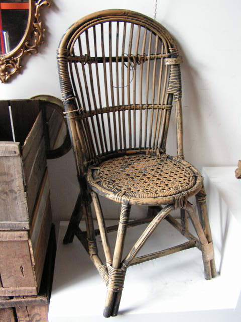 Chairs - painted ochre and black cane