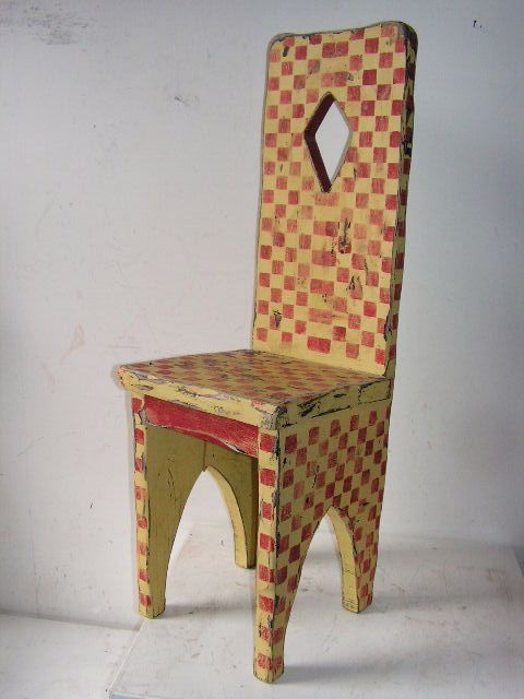 Chair - small chair painted with red and yellow harlequin pattern