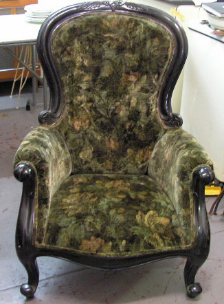 Chair - black and green velvet Salon chair (low)