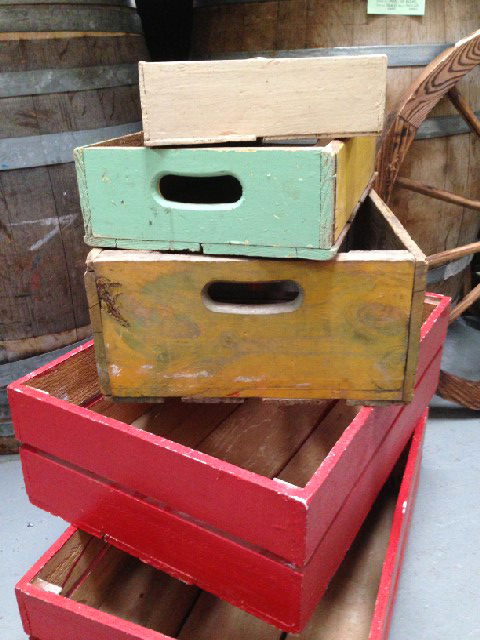 Crates - assorted painted crates