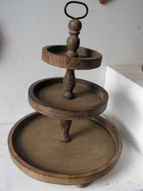 Fruit/cake stand, 3 tier rustic timber
