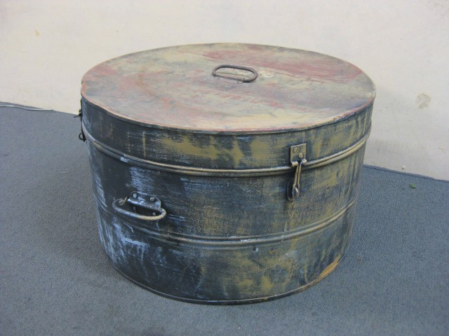 Hat box, rustic metal box painted ochre and black