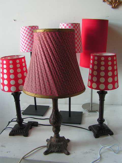 Lights - red and pink assorted table lamps
