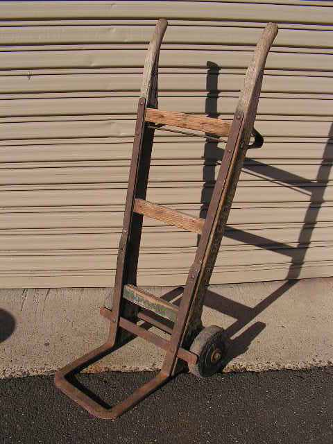 Sack trolley - rustic upright wooden hand trolley